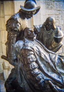 Скульптура св. Игнатия, когда он был ранен в битве до его обращения