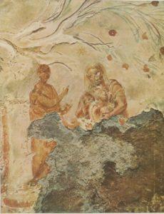 На фотографии древний образ из римских катакомб Присциллы: Валаам, указывающий на звезду и Мария с Иисусом, как исполнение пророчества.